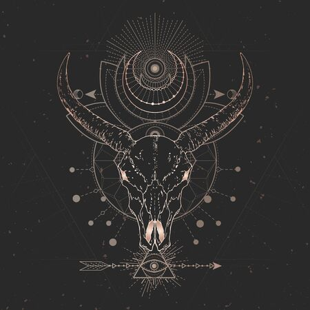 Vector illustration with hand drawn Wild buffalo skull and Sacred geometric symbol on black vintage background. Abstract mystic sign. Gold linear shape. For you design and magic craft. Иллюстрация