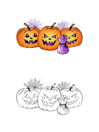 Halloween illustration with smiling Pumpkins, handbag and web on a white background. Two variant: color and monochrome. Page of coloring book. Vector.  イラスト・ベクター素材