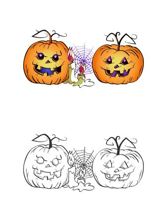 Halloween illustration with smiling Pumpkins, candle and web on a white background. Two variant: color and monochrome. Page of coloring book. Vector.  イラスト・ベクター素材