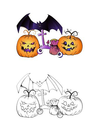 Halloween illustration with smiling Pumpkins, bag, bat and grave on a white background. Two variant: color and monochrome. Page of coloring book. Vector.