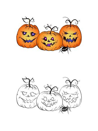Halloween illustration with smiling Pumpkins and spider on a white background. Two variant: color and monochrome. Page of coloring book. Vector.  イラスト・ベクター素材