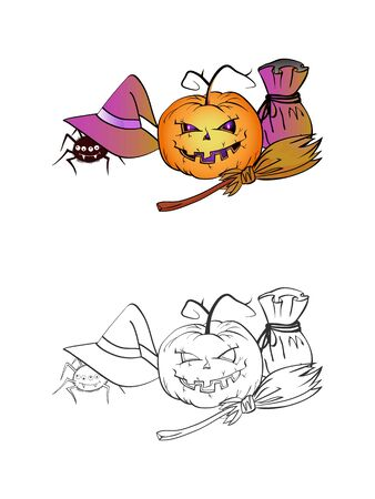 Halloween illustration with smiling Pumpkins, spider, hat, bag and broom on a white background. Two variant: color and monochrome. Page of coloring book. Vector.