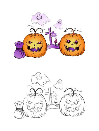 Halloween illustration with smiling Pumpkins, ghosts, spider and grave on a white background. Two variant: color and monochrome. Page of coloring book. Vector.
