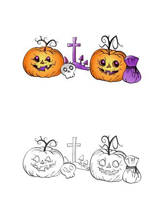 Halloween illustration with smiling Pumpkins, skull and grave on a white background. Two variant: color and monochrome. Page of coloring book. Vector.