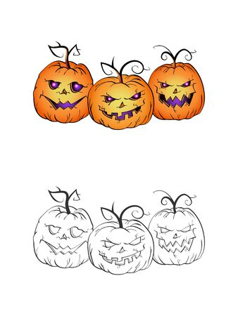 Halloween illustration with smiling Pumpkins on a white background. Two variant: color and monochrome. Page of coloring book. Vector.  イラスト・ベクター素材