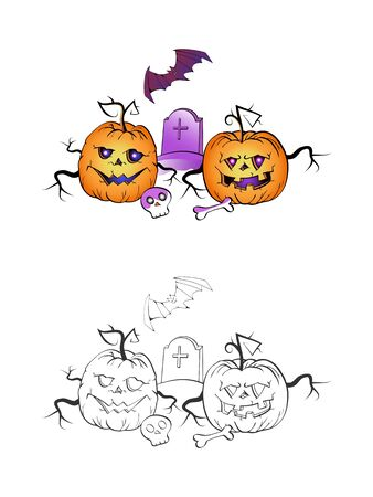 Halloween illustration with smiling Pumpkins, bat grave on a white background. Two variant: color and monochrome. Page of coloring book. Vector.