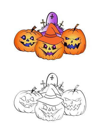 Halloween illustration with smiling Pumpkins, witch hat and grave on a white background. Two variant: color and monochrome. Page of coloring book. Vector. Illustration