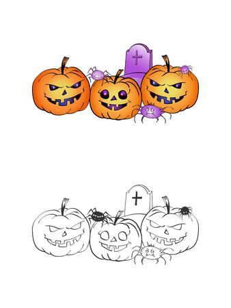 Halloween illustration with smiling Pumpkins, spiders and grave on a white background. Two variant: color and monochrome. Page of coloring book. Vector. Illustration