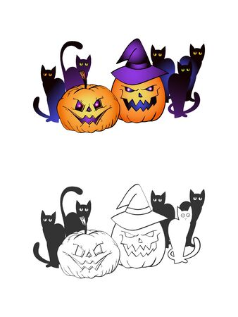 Halloween illustration with smiling Pumpkins, black cats and witch hat on a white background. Two variant: color and monochrome. Page of coloring book. Vector.