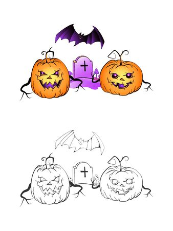 Halloween illustration with smiling Pumpkins, bat and grave on a white background. Two variant: color and monochrome. Page of coloring book. Vector.  イラスト・ベクター素材