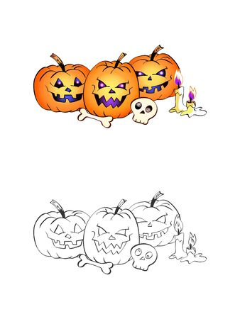 Halloween illustration with smiling Pumpkins, skulls and candles on a white background. Two variant: color and monochrome. Page of coloring book. Vector.