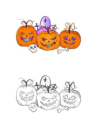 Halloween illustration with smiling Pumpkins, skull and grave on a white background. Page of coloring book. Vector.