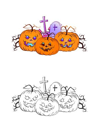 Halloween illustration with smiling Pumpkins and grave on a white background. Two variant: color and monochrome. Page of coloring book. Vector.