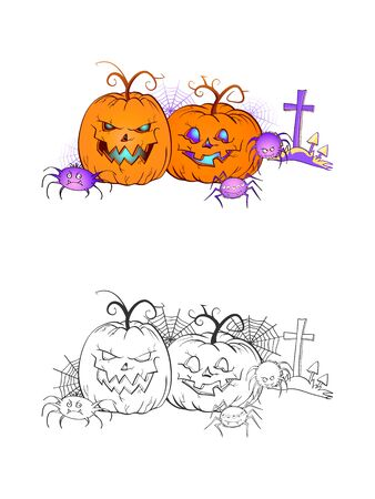 Halloween illustration with smiling Pumpkins, spiders, grave and web on a white background. Two variant: color and monochrome. Page of coloring book. Vector.