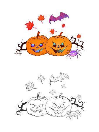 Halloween-Illustration mit lächelnden Kürbissen, Schläger und Spinne auf weißem Hintergrund. Zwei Varianten: Farbe und Monochrom. Seite des Malbuches. Vektor.