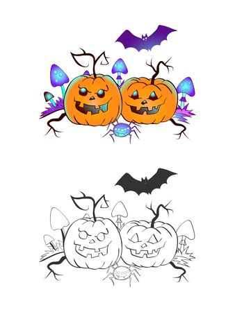 Halloween illustration with smiling Pumpkins, bat and spider on a white background. Two variant: color and monochrome. Page of coloring book. Vector. Ilustrace