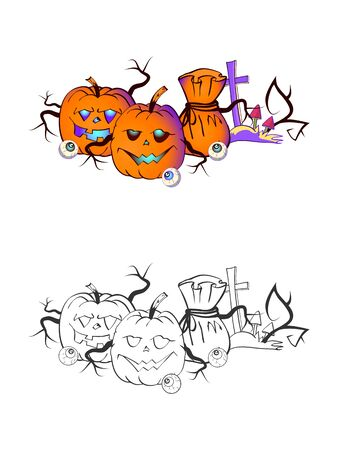 Halloween illustration with smiling Pumpkins, eyes and grave on a white background. Two variant: color and monochrome. Page of coloring book. Vector.