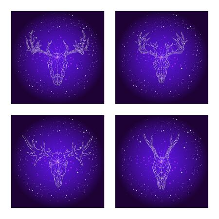 Vector set of four illustrations with hand drawn skulls deer and moose on purple abstract background. For you design, print, tattoo or magic craft.