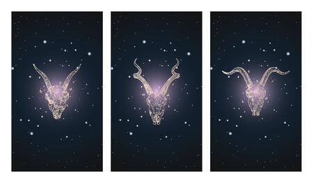 Vector set of three illustrations with silhouettes skulls antelope and goats against the background of the starry sky. In purple color. For you design, print, tattoo or magic craft.