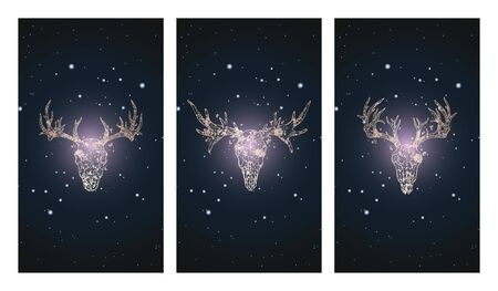 Vector set of three illustrations with silhouettes skulls deer and moose against the background of the starry sky. In purple color. For you design, print, tattoo or magic craft.