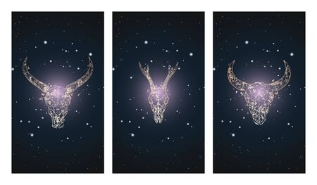 Vector set of three illustrations with silhouettes skulls roe deer, buffalo and bull against the background of the starry sky. In purple color. For you design, print, tattoo or magic craft. Иллюстрация