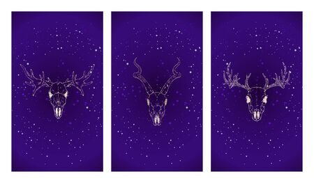Vector set of three illustrations with gold silhouettes skulls deer, antelope and moose against the background of the starry sky. Purple color image. For you design, print, tattoo or magic craft.