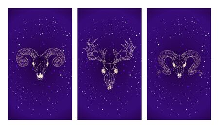 Vector set of three illustrations with gold silhouettes skulls deer and rams against the background of the starry sky. Purple color image.  For you design, print, tattoo or magic craft. Stock Illustratie