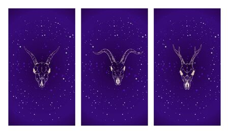 Vector set of three illustrations with gold silhouettes skulls roe deer and goats against the background of the starry sky. Purple color image.  For you design, print, tattoo or magic craft. Stock Illustratie