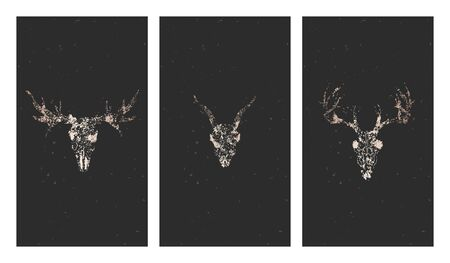 Vector set of three illustrations with gold silhouettes skulls deer, moose and grunge elements on black background. For you design, print, tattoo or magic craft. Stock Illustratie