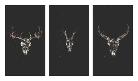 Vector set of three illustrations with gold silhouettes skulls deer, wild buffalo and grunge elements on black background. For you design, print, tattoo or magic craft. Stock Illustratie