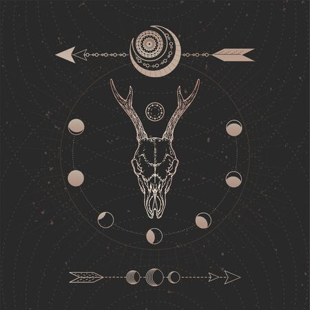 Vector illustration with hand drawn Roe deer skull and Sacred geometric symbol on black vintage background. Abstract mystic sign. Gold linear shape. For you design and magic craft.