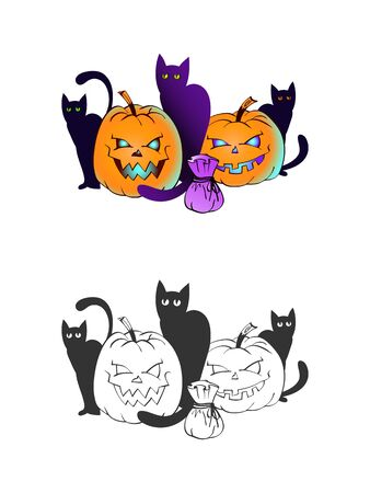 Halloween illustration with smiling Pumpkins and black cats on a white background. Two variant: color and monochrome. Page of coloring book. Vector.