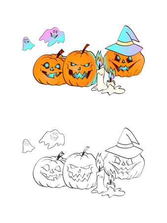 Halloween illustration with smiling Pumpkins, witch hat, ghosts and candles on a white background. Two variant: color and monochrome. Page of coloring book. Vector.