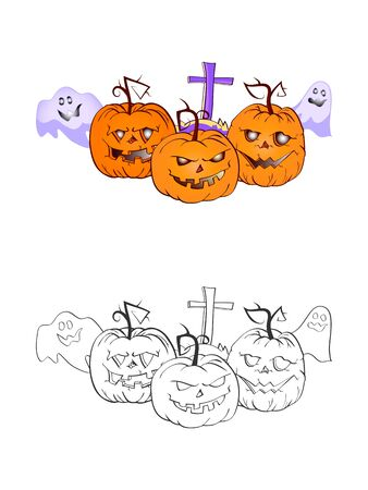 Halloween illustration with smiling Pumpkins, ghosts and grave on a white background. Two variant: color and monochrome. Page of coloring book. Vector.