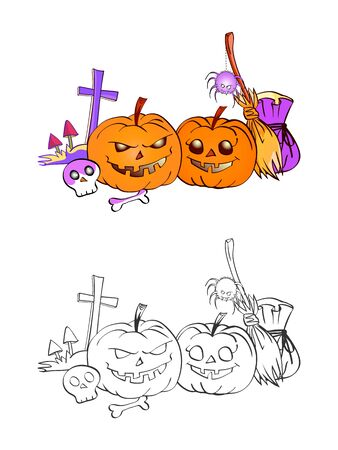 Halloween illustration with smiling Pumpkins, skull, spider and grave on a white background. Two variant: color and monochrome. Page of coloring book. Vector.