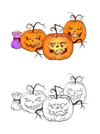 Halloween illustration with smiling Pumpkins and bag on a white background. Two variant: color and monochrome. Page of coloring book. Vector.
