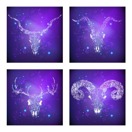 Vector set of four illustrations with hand drawn skulls deer, antelope, goat and ram against the background of the starry sky. In purple color. For you design, print, tattoo or magic craft. Illustration