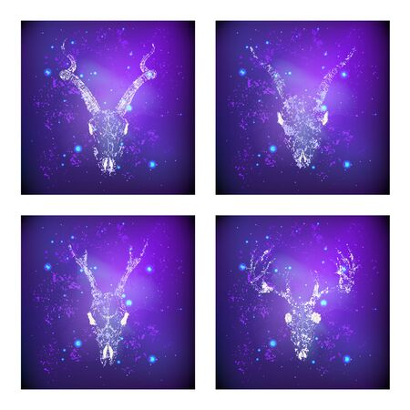 Vector set of four illustrations with hand drawn skulls deer, antelope and goat against the background of the starry sky. In purple color. For you design, print, tattoo or magic craft. Illustration