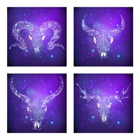 Vector set of four illustrations with hand drawn skulls buffalo, moose, bull and rams against the background of the starry sky. In purple color. For you design, print, tattoo or magic craft. Иллюстрация
