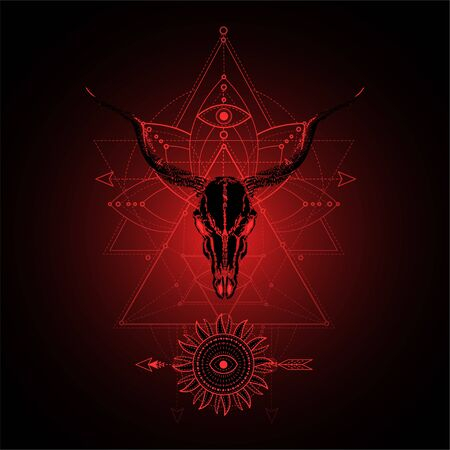 illustration with hand drawn antelope skull and Sacred geometric symbol on black background. Abstract mystic sign. Red linear shape. For you design, tattoo or magic craft.