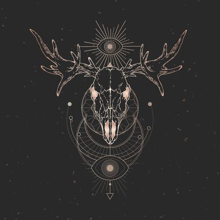 illustration with hand drawn Moose skull and Sacred geometric symbol on black vintage background. Abstract mystic sign. Gold linear shape. For you design and magic craft. Illustration