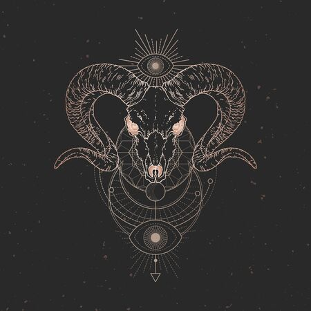 illustration with hand drawn Wild ram skull and Sacred geometric symbol on black vintage background. Abstract mystic sign. Gold linear shape. For you design and magic craft.