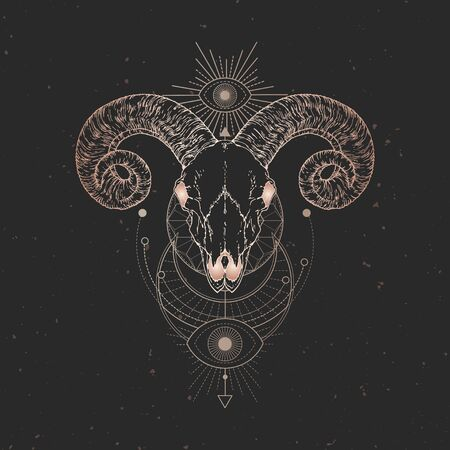 illustration with hand drawn Ram skull and Sacred geometric symbol on black vintage background. Abstract mystic sign. Gold linear shape. For you design and magic craft. Illustration