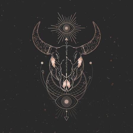 illustration avec crâne de taureau dessiné à la main et symbole géométrique sacré sur fond vintage noir. Signe mystique abstrait. Forme linéaire dorée. Pour vous la conception et l'artisanat magique.