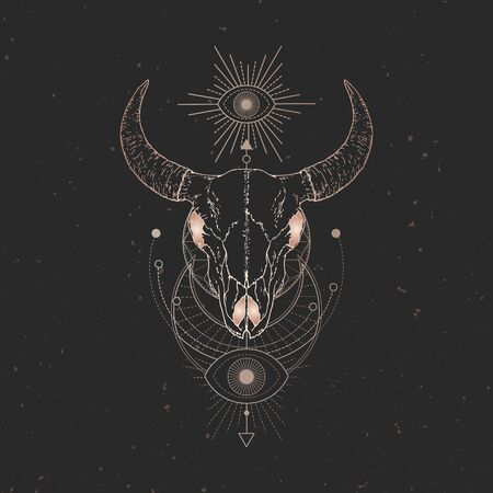 illustration with hand drawn Bull skull and Sacred geometric symbol on black vintage background. Abstract mystic sign. Gold linear shape. For you design and magic craft. Illustration