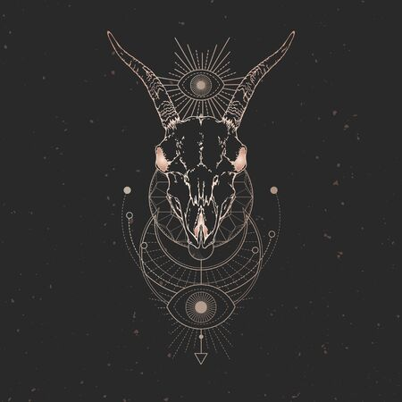 illustration with hand drawn Goat skull and Sacred geometric symbol on black vintage background. Abstract mystic sign. Gold linear shape. For you design and magic craft. Illustration