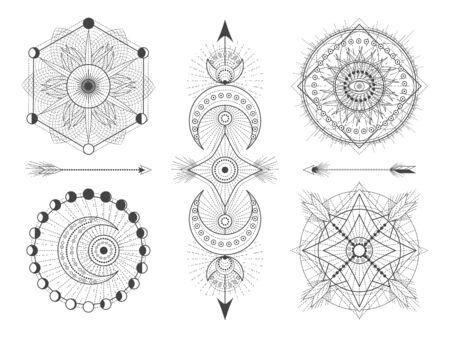 Vector conjunto de figuras y símbolos geométricos sagrados sobre fondo blanco. Colección de signos místicos abstractos. Formas lineales negras. Para tu diseño: tatuajes, carteles, camisetas, textiles.