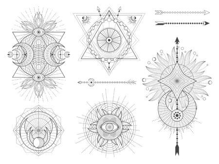 Ensemble vectoriel de symboles géométriques sacrés et de figures sur fond blanc. Collection de signes mystiques abstraits. Formes linéaires noires. Pour vous concevez : tatouage, affiches, t-shirts, textiles ou artisanat magique.