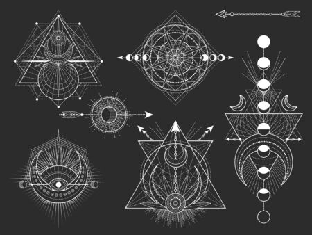 Vector set of Sacred geometric symbols and figures on black background. Abstract mystic signs collection. White linear shapes. For you design: tattoo, posters, t-shirts, textiles or magic craft. Ilustrace