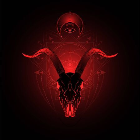 illustration with hand drawn goat skull and Sacred geometric symbol on black background. Abstract mystic sign. Red linear shape. For you design, tattoo or magic craft.